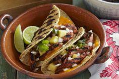 Tacos al pastor con queso cheddar a la parrilla Receta - Comida Kraft
