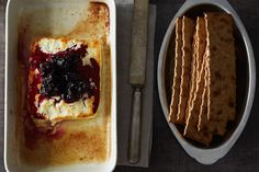 // Baked Feta with Rosemary Blackberry Compote