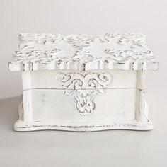 Whitewashed Scalloped Simona Jewelry Box | World Market