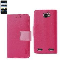 Reiko Wallet Case 3 In 1 For ZTE Sonata 2/ ZTE Z755 Hot Pink With Interior Polymer