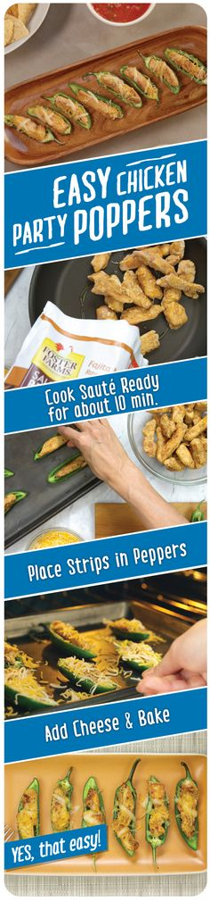 These easy party appetizers are quick to make and delicious to taste!  Spice up the scene with Easy Chicken Party Poppers using Sauté Ready Fajita Marinated Chicken Breasts and a few simple ingredients. Click for recipe details. http://fosterfarms.com/sauteready