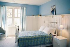 Blue Bedroom Ideas With Tall Wainscoting , Blue Bedroom Ideas In Decorating In Bedroom Category