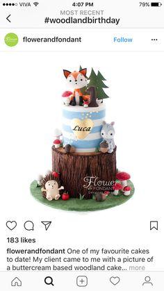 Twin Birthday Cakes, Themed Birthday Cakes, Baby Boy Birthday, 1st Year Cake, Peter Rabbit Birthday, Woodland Cake, Fondant Animals, Animal Cakes, Fondant Figures