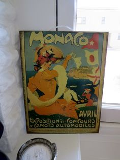 Vintage Monaco Tin Plaque - $18. A unique metal wall poster, the Monaco tin plaque provides a vintage aesthetic to any globally keen home.