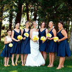colors blue and and blue bridesmaid dresses on