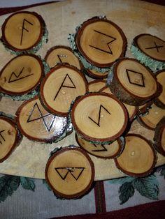 Wood Burned Walnut Elder Futhark Runes by FairyFresh on Etsy