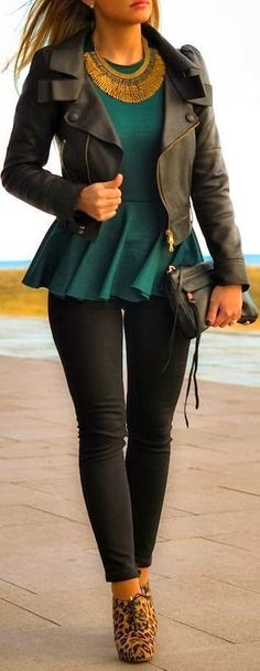 Gorgeous Black Leather Jacket and Green Dress,Golden Necklace and Skinnies, Black Jeans, High Heel Shoes and Handbag