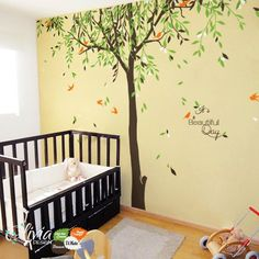 Large Baby nursery Willow Tree vinyl wall decal by theOliviaDesign Bird Wall Decals, Tree Decals, Nursery Wall Decals, Wall Vinyl, Weeping Willow, Willow Tree, Tree Of Life Artwork, Tree Wall Murals, Tree Wallpaper
