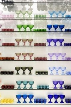 The full range of colorful glassware by Marimekko for Iittala is on offer.