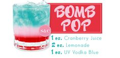 bomb pop drink...except i use sprite and grenedine instead of lemonade and cranberry juice..but either work :)
