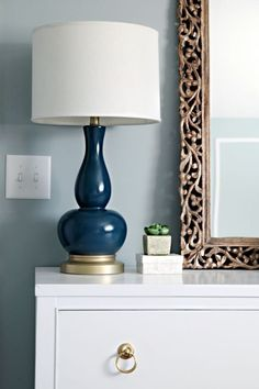 blue and gold for a unique lamp spray painting lamps rustoleum night. Black Bedroom Furniture Sets. Home Design Ideas