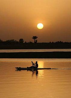 niger river map africa | Niger River sunset, Benin