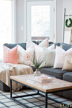 Our Open Concept Living Room with Vaulted Ceilings, blush floral pillows for spring time, gray sofa, bright living room Room Arrangement Ideas, Living Room Arrangements, Furniture Arrangement, Pillow Arrangement, Living Room Decor Cozy, Living Room Colors, Home Living Room, Living Room Furniture, Living Spaces