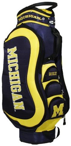 NCAA Michigan Wolverines Medalist Cart Bag by Team Golf. $149.99. Removable rain hood and umbrella holder and towel ring. 8 location embroidery and 5 zippered pockets. Integrated top handle and 14-way full length dividers. Padded strap with strap pouch and fleece-lined valuables pouch. External putter well and 3 lift assist handles. This bag is loaded with features, including integrated top handle, 14-way full length dividers, 8 location embroidery, 5 zippered pockets, ext...