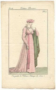 Fashion plate, 1807 France, Journal des Dames et des Modes Love the bonnet 1800s Fashion, European Fashion, Victorian Fashion, Vintage Fashion, Regency Dress, Regency Era, Historical Costume, Historical Clothing, Larp
