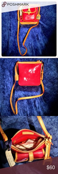 """Dooney & Bourke Letter Carrier Purse Brand new strawberry colored leather Dooney & Bourke purse still with tags! Measures about 7""""x 7"""". Has front satchel storage compartment and interior has 1 zipper storage compartment plus 2 open storage pockets. Adjustable shoulder strap. Dooney & Bourke Bags"""