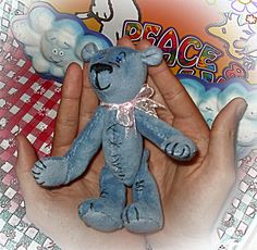 "Little Blue Teddy bear ""miniature""--plush bear by tagi74 on Etsy"