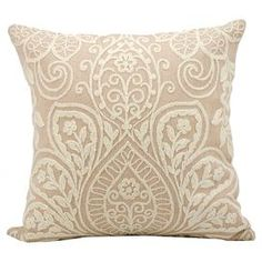 "Add a pop of style to your sofa or favorite reading nook with this eye-catching wool and suede pillow, featuring an applique botanical motif for eye-catching appeal.  Product: PillowConstruction Material: Suede cover and wool fillColor: BlushFeatures: Insert includedDimensions: 16"" x 16"""