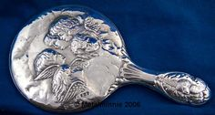 ANTIQUE ENGLISH SILVER HAND MIRROR CHERUBS. Birmingham 1918