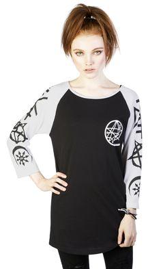 Necronomicon Raglan #disturbiaclothing disturbia 3/4 sleeves chest and sleeve print black occult goth grunge alternative