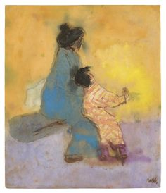 amare-habeo:    Emil Nolde (German-Danish, 1867 - 1956)    Japanese Woman with a Young Girl, 1913     Watercolour and Indian ink on Japan paper, 28 x 23,5 cm