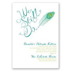 peacock calligraphy I wedding vow renewal invitation