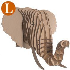 Trophée Tête d'Elephant en Carton brun - Grand
