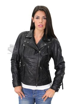 Harley-Davidson® | 97065-15VW | Harley-Davidson® Womens Dark Shadows Basket Weave with Dome Studs Biker Black Leather Jacket