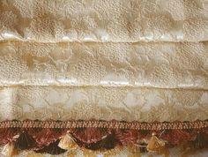 Gold Brocade Curtains Double Wide Fancy Vintage  Tassel