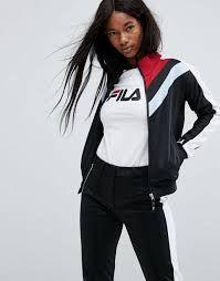 Shop the latest Fila Zip Through Tracksuit Jacket With Color Block Contrasts Co-Ord trends with ASOS! Free delivery and returns (Ts&Cs apply), order today! Fila Jacket, Tracksuit Jacket, Tweed Jacket, Adidas Jacket, Jackets For Women, Clothes For Women, Sporty Chic, Trousers Women, Moda Masculina
