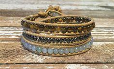 Boho Leather Wrap Bracelet / Tigers Eye Bracelet / Bohemian Jewelry / Chan Luu Bracelet