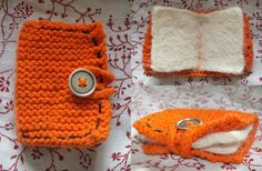 Hand made diary/journal. -knitted cover with button strap -dry felted pages