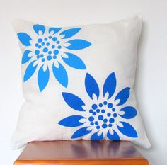 Blue Sunflower Pillow Cover: Hand Printed Pillow Cover 16x16 Natural White Linen with Blue Sunflower Design. $19.99, via Etsy.