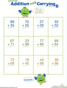 Second Grade Addition Worksheets: Double Digits! Practice Vertical Addition with Carrying 24 Math Practice Worksheets, 2nd Grade Worksheets, Addition Worksheets, Math Activities, Math Games, Math Doubles, Teaching Math, Maths, Teaching Resources