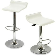 King's Brand 9009W Air Lift Adjustable Bar Stool with Vinyl Seat, White and Chrome Finish, Set of 2