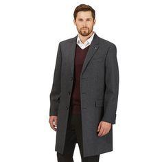 Jeff Banks Black buttoned overcoat | Debenhams