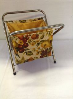No. 5  Vintage Folding Sewing / Knitting / Crocheting Fabric Basket Tote with Metal Frame Craft Yarn Portable by ReEmporium on Etsy