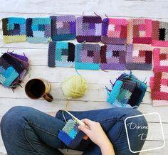 Crochet Square Patterns, Crochet Blocks, Crochet Squares, Crochet Blanket Patterns, Granny Squares, Crochet Ideas, Crochet Projects, Crochet Bags, Crochet Animals