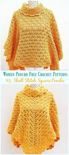 This beautiful lace poncho is crochet in lace shell stitch with 2 pieces joined and crochet cowl neck, versatile to wear in 2 ways. The Poncho is one of the favorite garment for most ladies, so easy to put on… Continue Reading → Poncho Au Crochet, Knit Crochet, Knitted Shawls, Crochet Vests, Crochet Cape, Crochet Shell Stitch, Crochet Shirt, Crochet Sweaters, Easy Crochet