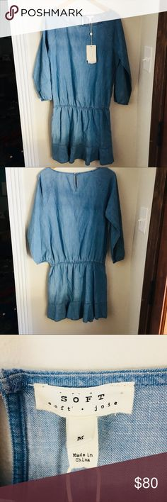 Joie soft denim dress Joie soft denim dress 3/4 sleeve. Great material super soft. Brand new with tags. Size M. Soft Joie Dresses