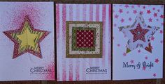 Quick and easy cards using dies.  The masks are from Stampin'Up! (r)