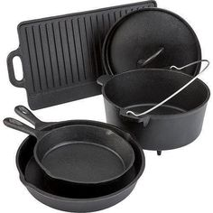 Cast iron pots and pans is an old fashioned kind of cookware that still has a location in today's world of modern-day cooking. Cast Iron Set, Cast Iron Skillet Set, Skillet Pan, It Cast, Cast Iron Cookware, Cookware Set, Camping Cooking Equipment, Bbq Equipment, Kitchens
