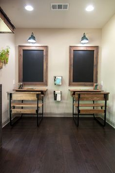 School/playroom. Cut green table in half and use for desks; framed chalkboards above each
