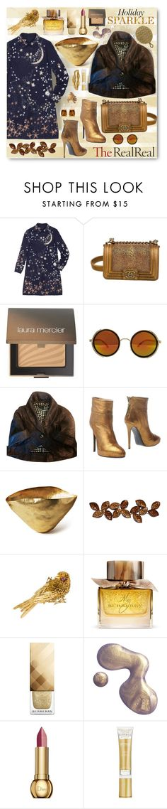 """Holiday Sparkle With The RealReal: Contest Entry"" by esch103 ❤ liked on Polyvore featuring Valentino, Chanel, Laura Mercier, Marc Jacobs, Ines Della Rovere London, Tom Dixon, Burberry, Christian Dior, NuFace and Tiffany & Co."