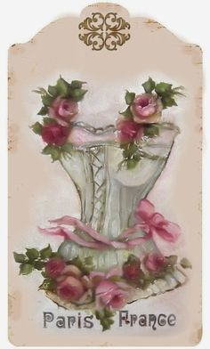Brocante Brie: corset with roses and pink bow on tag.