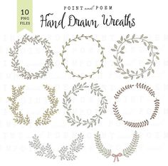 Wreath Clip Art DIGITAL WREATH Laurel Clipart Wedding Scrapbooking Hand Drawn Leaves