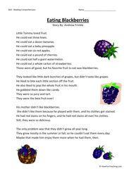 Eating Blackberries Third Grade Reading Comprehension Worksheet