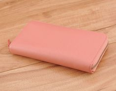 Handmade peach saffiano leather zipper long wallet - Ready to Ship