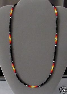 "Black Sunburst Men's, Women's Beaded Necklace- Native American Made 16-28"" Rita"