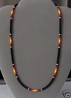 "Black Sunburst  Men's, Women's Beaded Necklace- Native American Made 16-28"" Rita"